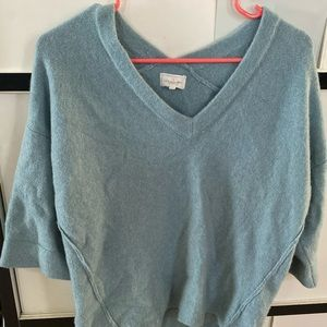 Blue V-neck High and Low Sweater